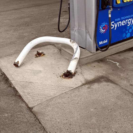 Gas pump barrier - smashed