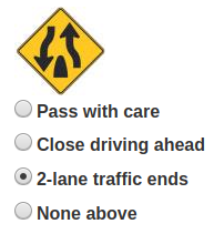 Driving class - lane reductIon