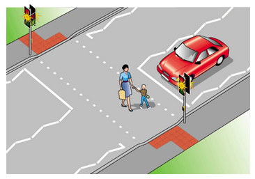 Driving class - mirror-image roadway crossing