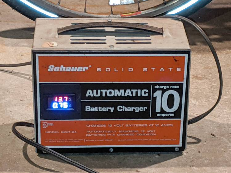 Schauer battery charger - in use