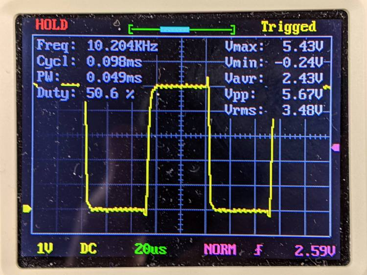 Mesa 5I25 10 kHz PWM output waveform