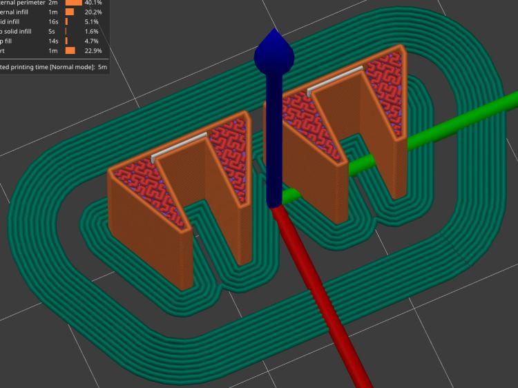 Brake Magnet Mount - PrusaSlicer prevew