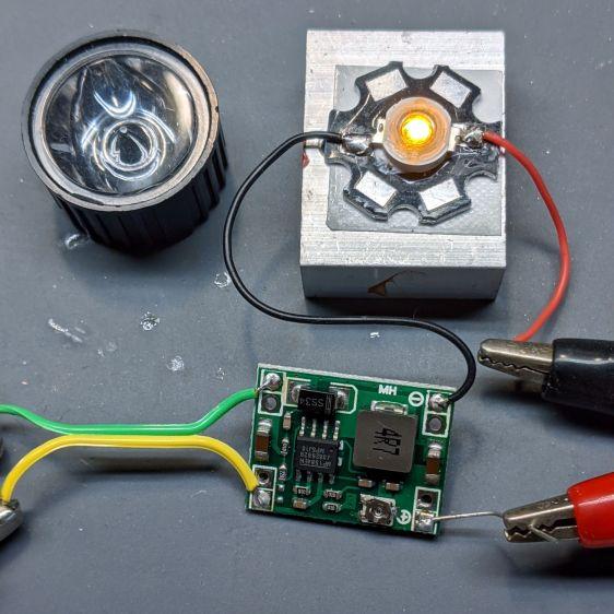 Amber 1W LED - test heatsink