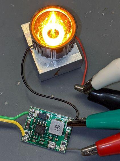 Amber 1W LED - lens test