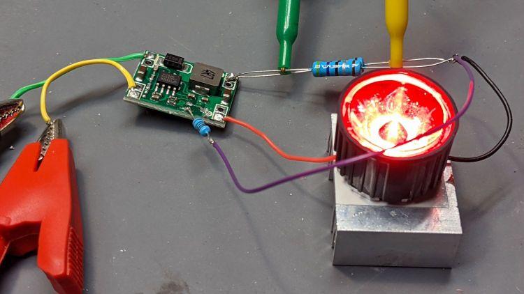 MP1584 buck regulator - current feedback - red LED