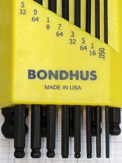 Bondhus hex wrenches - missing 7-64 ball